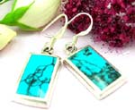 Sterling silver earring with rectangular shape and turquoise