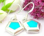 Sterling silver earring with 5 pyramid shape and turquoise embedded