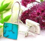 Sterling silver earring with clip-in fish hook for closure and square blue turquoise stone embedded