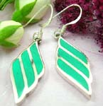 Sterling silver earring with fish hook design and diamand shape with green turquoise