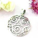 Sterling silver pendant with cut-out celtic knot pattern