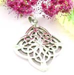 Sterling silver pendant cut-out celtic knot formed in 4 leafs flower pattern