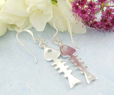 Tendy jewelry shopping fish hook back, 925 sterling silver earrings with shinny fish bone designed