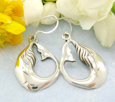wholesale earring,  925 sterling silver earrings with curved fish shaped designed