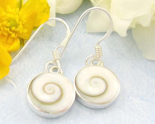 Shopping cute earrings rounded white stone embedded sterling silver earrings with spiral pattern decor