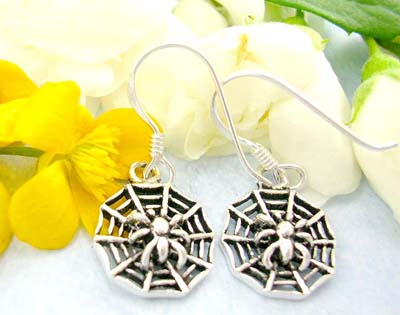 Discount shopping list online discount jewelry of tiny spider web pattern sterling silver earrings with fish hook