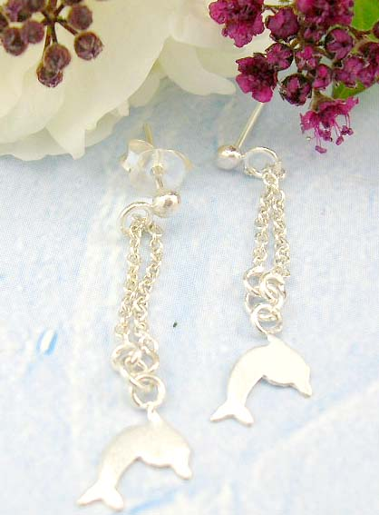 Shopping discount mall online discount custom jewelry of sterling silver stud earrings with mini chain loop holding a dolphin