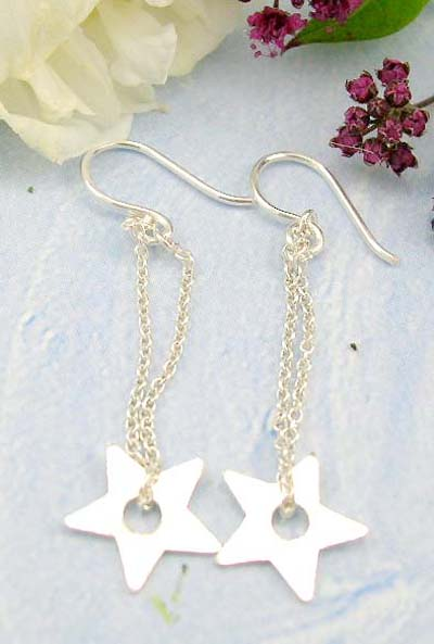 wholesale costume jewelry shopping mall online sterling silver fish hook earring decor with chain loop holding a star