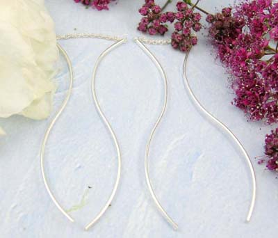 Sterling silver jewelry shopping mall sterling silver earrings with mini chain holding a flat long wave strip on each end