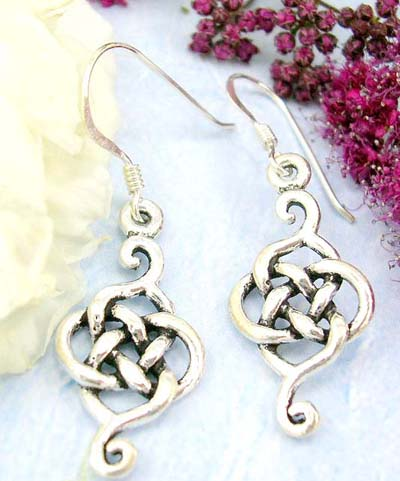 Online shopping mall body piercing jewelry sale sterlign silver earrings eith celtic knot work, fish hook fit