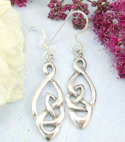 Shopping wholesale costume jewelry store sterling silver fish hook earrings with long diamond shape celtic knot