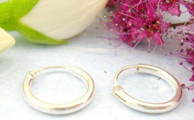 Discount shopping site cheap gift jewellery of plain sterling silver earring hoop