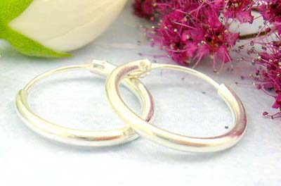 Discount catalog shopping mall discount jewelry of thick plain sterling silver earring hoop
