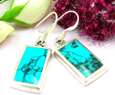 Discount fashion jewelry shopping sterling silver earring with rectangular shape and turquoise