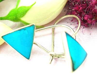 Competitive priced earrings shopping sterling silver earring with clip-in fish hook for closure and triangular blue turquoise stone embedded