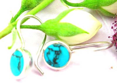 Shopping quality gift jewellery online sterling silver earring with fish hook and rounded blue turquoise stone embedded