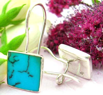 Buying sterling silver online sterling silver earring with clip-in fish hook for closure and square blue turquoise stone embedded