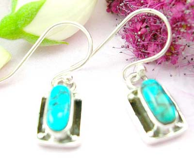 Fashion discount jewelry sterling silver earring with clip-in fish hook for and oval blue turquoise stone embedded
