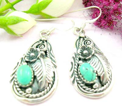 Jewelry finding shopping leaf and flower pattern sterling silver earring with blue turquoise