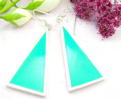 Shopping scream below wholesale costume jewelry sterling silver earring with green turquoise and triangle shape design