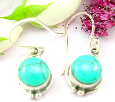 Wholesale jewelry for sale sterling silver earring with round shape turquoise and silver bead design