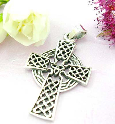 Religious pendants shopping online sterling silver cross pendant with celtic knot pattern design