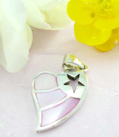 Fine custom jewelry shopping 925 Sterling silver heart pendant with star pattern and pinky seashell decor