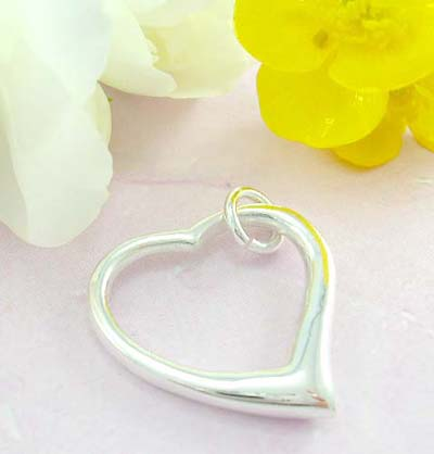 Online fine custom jewelry 925 Sterling silver pendant cut-out with plain heart shape