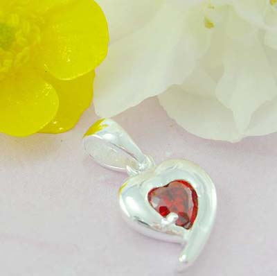 Shopping cz jewelry mall online 925 Sterling silver heart shape pattern with red cz
