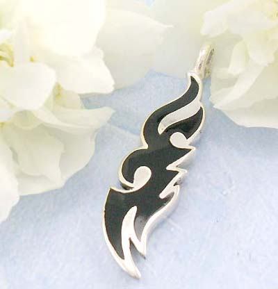 Shopping body canada jewelry black fire tattoo design in sterling silver pendant