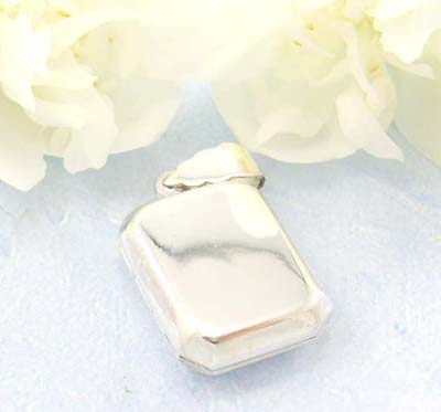 Big discount jewelry shopping store Plain rectangular shape locket pendant design in sterling silver