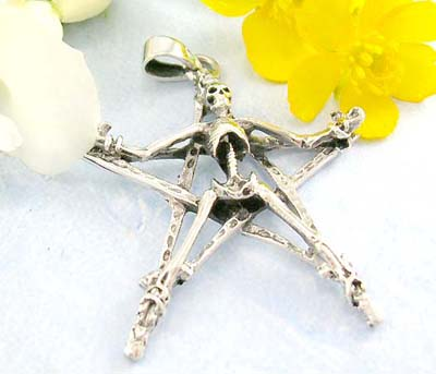 Hip hop jewelry discount shopping skull lie on star design in 925 sterling silver pendant