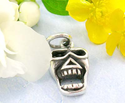 Hip hop jewelry catalog angry skull design in 925 sterling silver pendant