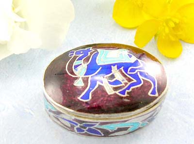 Silver high polished silver jewelry  catalog sterling silver Camel pill box with sparkle color