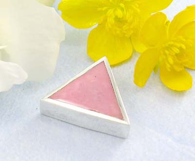 Cheap high polished silver jewelry  catalog Sterling silver pendant with triangle with pinky mother of seashell