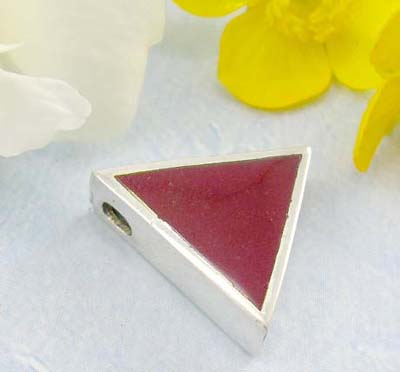 Sparkle jewelry shopping store sterling silver pendant with triangle with red mother of seashell