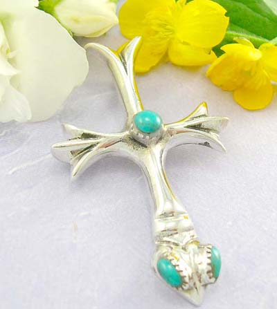 Discount hip hop cross pendant cross with a snake head at the bottom decor with turquoise design with 925 sterling silver pendan