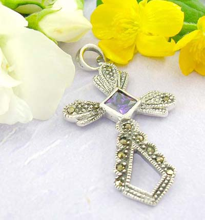 Quality cross pendant shopping multi marcasites and multi mini purple cz forming in cross shape design with 925 sterling silver pendant