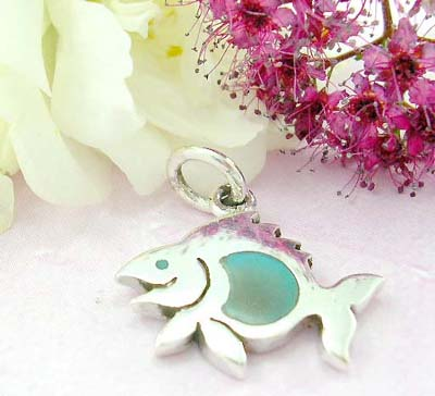925 stamped sterling silver jewelry  distributor sterling silver pendant with fish pattern and seashell