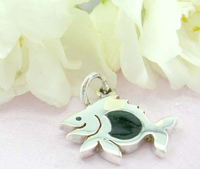 unique gift jewelry product catalog sterling silver pendant with fish pattern and onyx stone