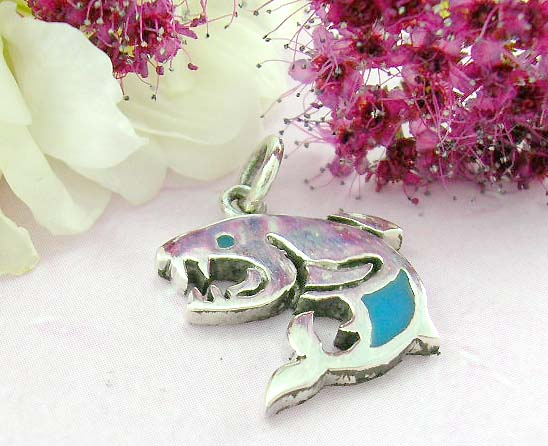 Body building jewelry shopping sterling silver pendant shark with turquoise