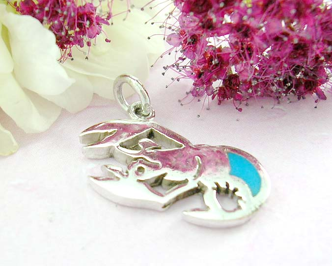 Discount unique gift jewelry product sterling silver pendant with lobster and turquoise