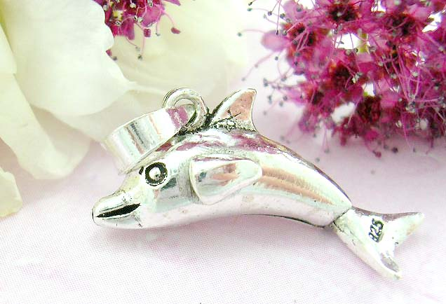 Bright jewelry products shopping sterling silver pendant with smile dolphin