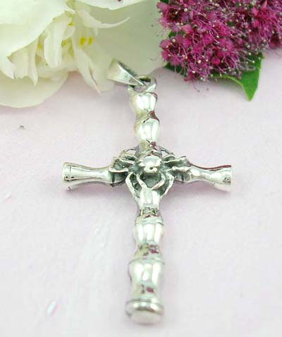 Shopping discount pendant online Bamboo shape cross with spider at the center design with 925 sterling silver pendant