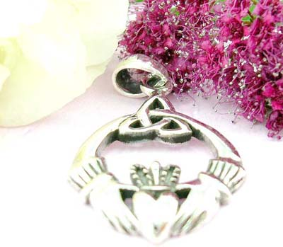 Pendants jewelry shop online two hands holding a heart and celtic work on top design with sterling silver pendan
