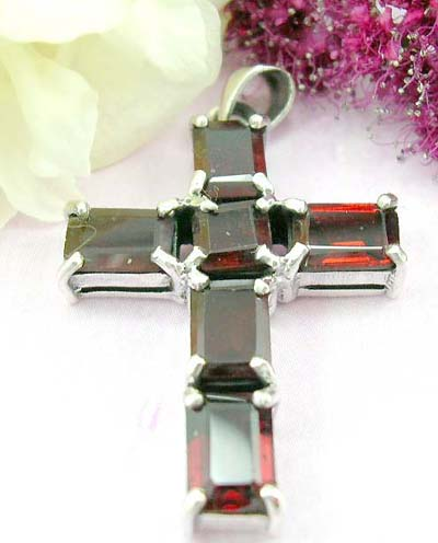 Buy cheap jewelry online 6 rectangular shape red garnet stone inlay 925. sterling silver cross pendant