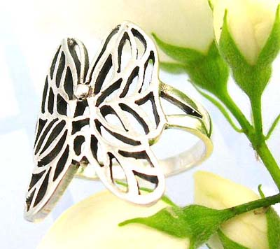 Shopping silver jewelry products sterling silver ring carved-out with butterfly shape