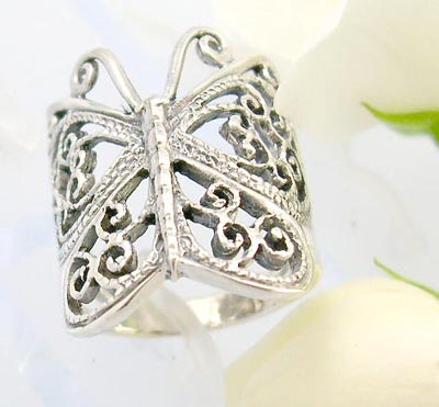 Online free body catalog sterling silver ring with butterfly and spiral design in the butterfly body