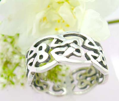 Discount ring online sterling silver ring with flower celtic knot work