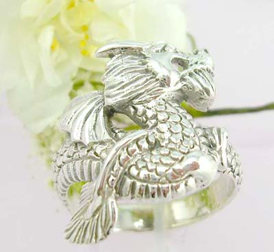 Online discount ring sterling silver ring with dragon design
